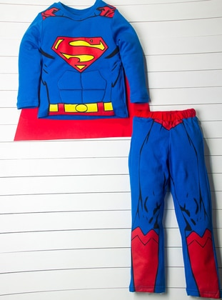 Multi - Crew neck - Red - Blue - Yellow - Boys` Suit