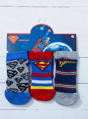 Red - Navy Blue - Gray - Socks
