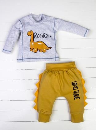 Crew neck - Gray - Mustard - Baby Pyjamas