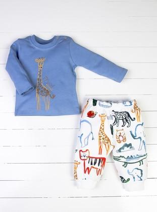 Multi - Crew neck - Blue - White - Baby Pyjamas