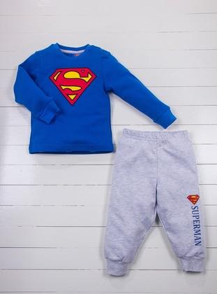 Crew neck - Blue - Gray - Baby Pyjamas