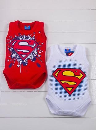 Crew neck - Red - White - Baby Suit