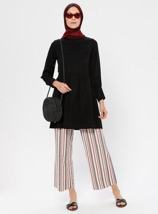 Maroon - Cream - Stripe - Cotton - Pants