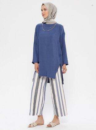 Blue - Cream - Stripe - Cotton - Pants