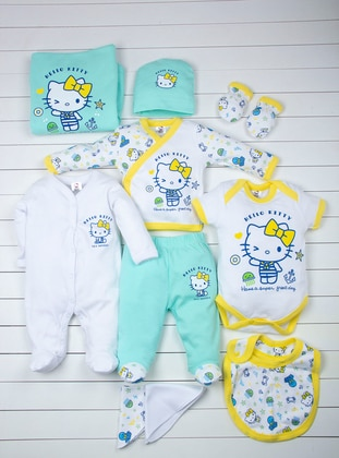 Crew neck - Green - White - Baby Care-Pack