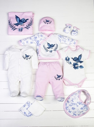 Multi - Crew neck - White - Pink - Baby Care-Pack