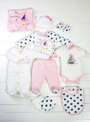 Polka Dot - Crew neck - White - Pink - Baby Care-Pack