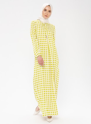 Olive Green - Checkered - Crew neck - Unlined - Viscose - Dress