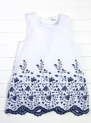 Crew neck - White - Navy Blue - Girls` Dress