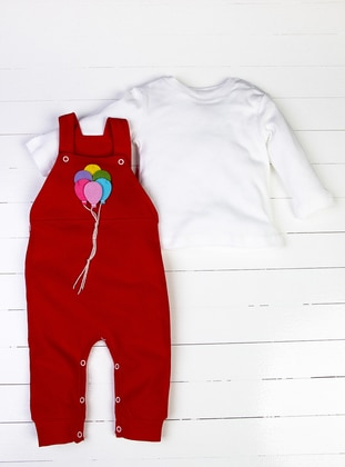 Crew neck - Red - White - Overall