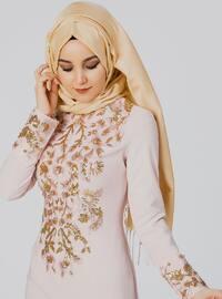 Powder - Floral - Unlined - Crew neck - Muslim Evening Dress