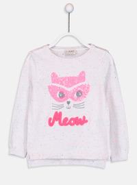 Printed - Crew neck - Ecru - Girls` Pullovers