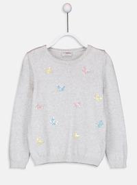Printed - Crew neck - Ecru - Girls` Pullovers