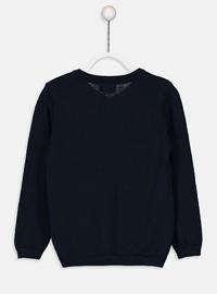 V neck Collar - Navy Blue - Girls` Pullovers