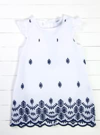 Crew neck - White - Navy Blue - Girls` Dress