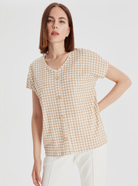 V neck Collar - Beige - T-Shirt