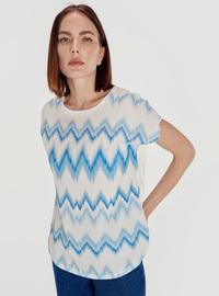 Stripe - Crew neck - White - T-Shirt