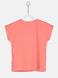 Crew neck - Coral - Girls` T-Shirt