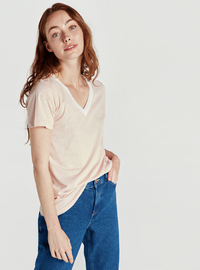 V neck Collar - Pink - T-Shirt