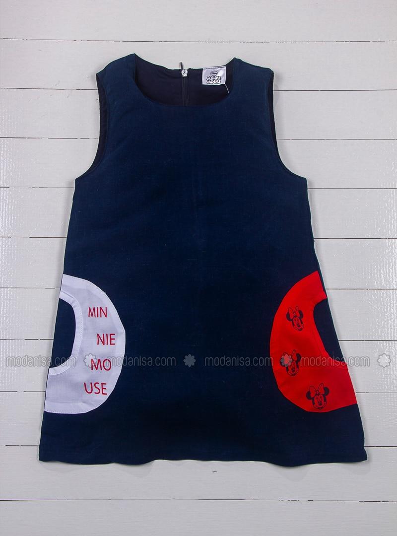 Multi - Crew neck - Red - Black - Girls` Dress