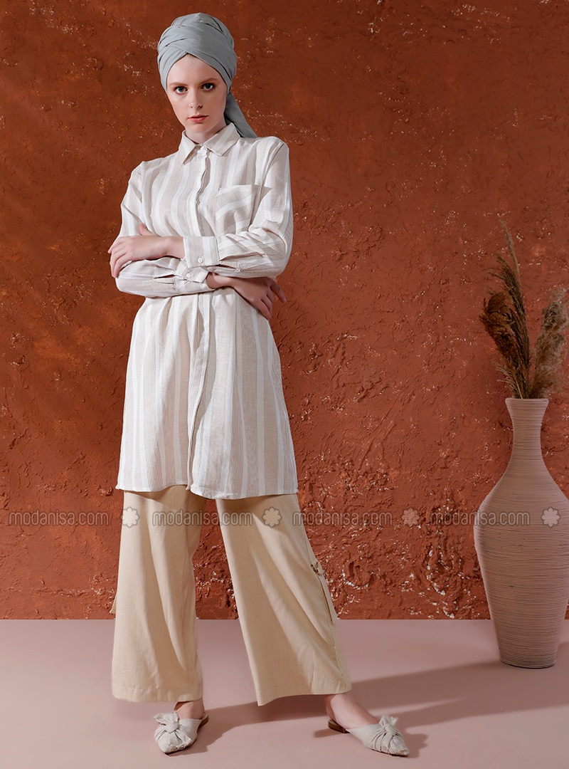 Beige - Stripe - Point Collar - Linen - Tunic