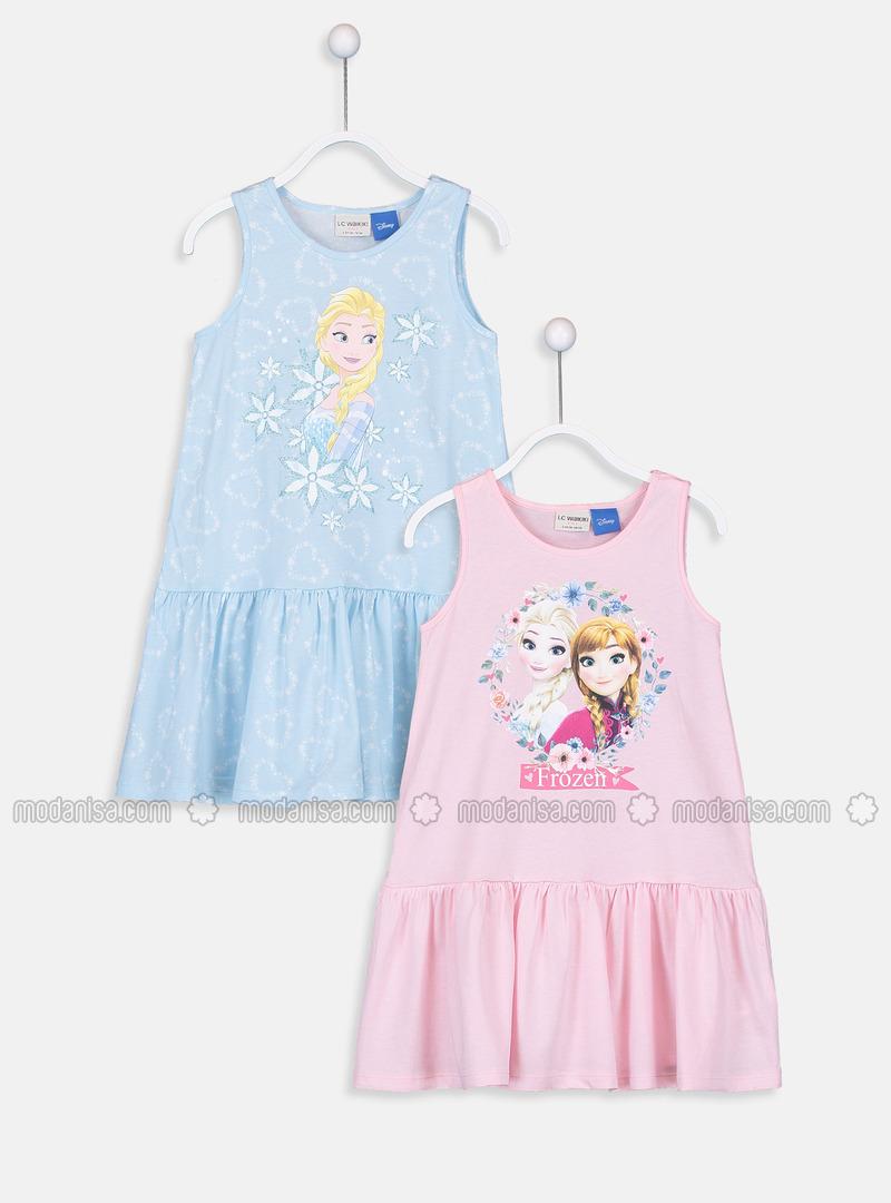 Printed - Blue - Girls` Dress