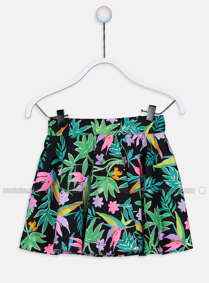 Printed - Black - Girls` Skirt