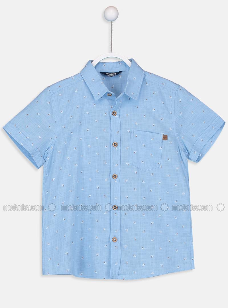 Printed - Blue - Boys` Shirt
