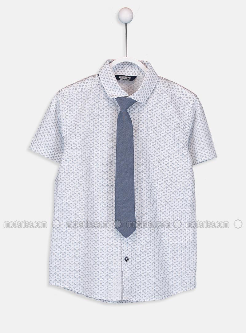 Printed - White - Boys` Shirt