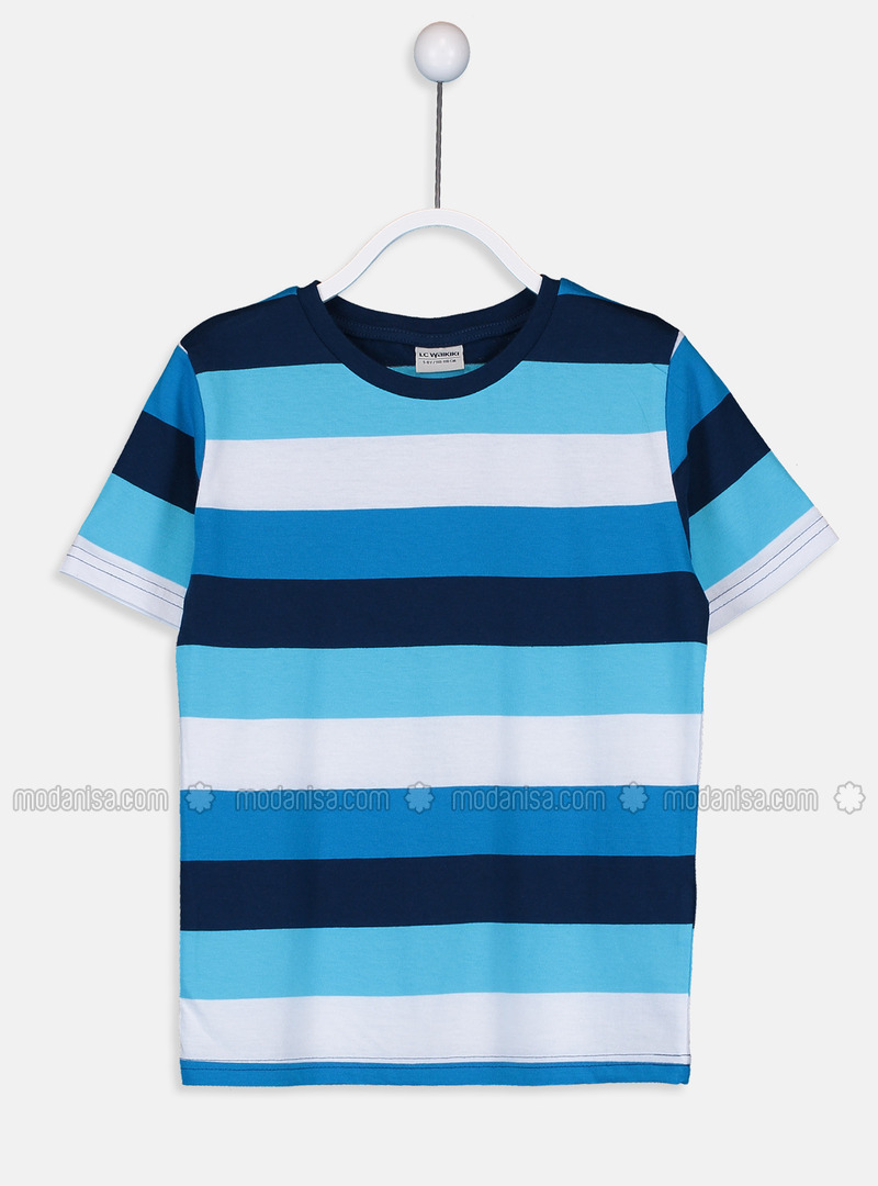 Stripe - Crew neck - Navy Blue - Boys` T-Shirt