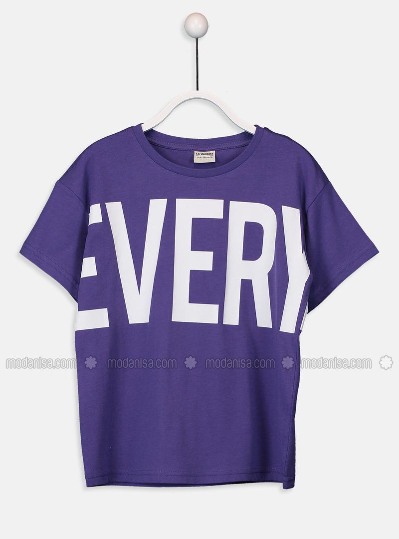 Crew neck - Purple - Boys` T-Shirt