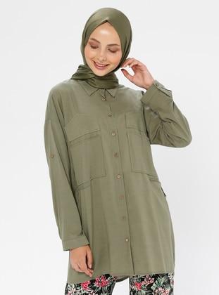 Khaki - Khaki - Khaki - Point Collar - Cotton - Tunic