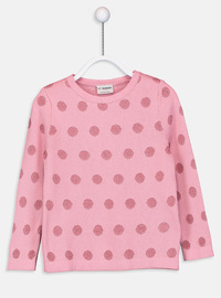 Crew neck - Printed - Pink - Girls` Pullovers