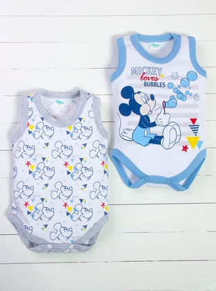 Multi - Crew neck - Blue - White - Baby Suit