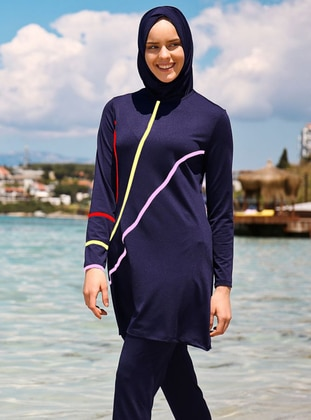 Navy Blue - Fully Covered Swimsuits -  Mayo
