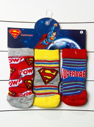 Multi - Red - White - Yellow - Navy Blue - Gray - Socks