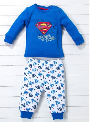 Multi - Crew neck - Blue - White - Baby Pyjamas
