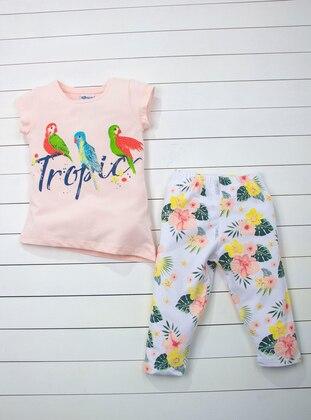 Floral - Crew neck - White - Salmon - Girls` Suit