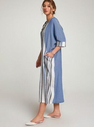 Blue - Stripe - Ethnic - Crew neck - Unlined - Cotton - Dress
