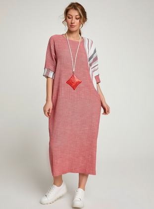 Red - Stripe - Ethnic - Crew neck - Unlined - Cotton - Dress