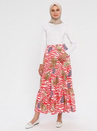 Pink - Fuchsia - Multi - Unlined - Skirt