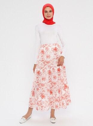 Tan - Multi - Unlined - Skirt