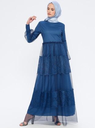 Navy Blue - Indigo - Crew neck - Fully Lined - Dress
