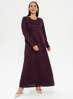 Purple - Unlined - Crew neck - Plus Size Dress