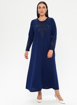 Saxe - Unlined - Crew neck - Plus Size Dress