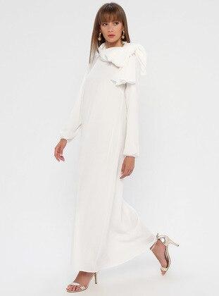 White - Ecru - Crew neck - Unlined - Dress