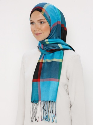 Blue - Multi - Two-way - Silk Blend - Cotton - Shawl
