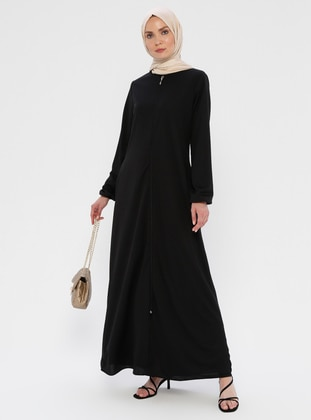 Black - Unlined - Crew neck - Abaya - ECESUN