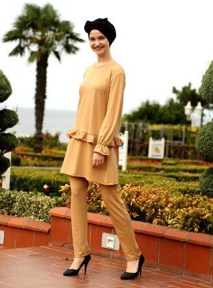 Camel - Unlined - Cotton - Acrylic - Suit