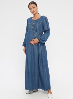 Blue - Crew neck - Unlined - Denim - Maternity Dress